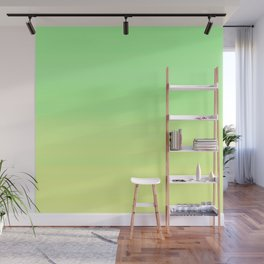 Lime Pastel Gradient Stripes | Green yellow pattern Wall Mural