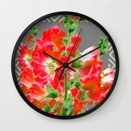 Charcoal Grey Saffrron Red Holly Hocks Pattern Flora Art Wall Clock