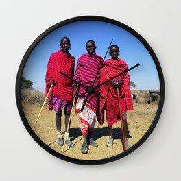 3 African Men from the Maasai Mara Wall Clock