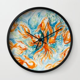 Sparkly Gold Goldfish watercolor by CheyAnne Sexton Wall Clock
