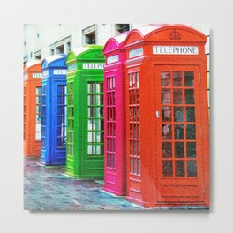 A Row of Brightly Colored Telephone Boxes Metal Print