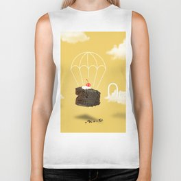 Isolated Chocolate cherry cake with parachute on yellow sky background Biker Tank