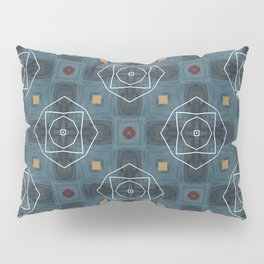 geo white floral lines on ink blue pattern Pillow Sham