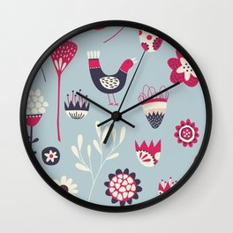 Scandi Birds and Flowers Blue Wall Clock