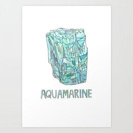 Aquamarine Gemstone / March Birthstone Watercolor Painting / Illustration Art Print