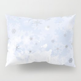 Silver snowflakes on blue Pillow Sham
