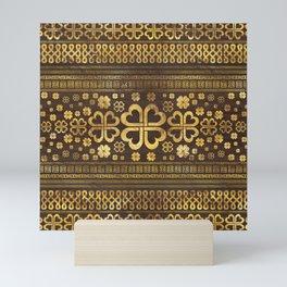 Shamrock Four-leaf Clover Wood and Gold Mini Art Print