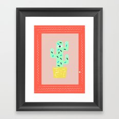 Green cactus within a red frame Framed Art Print