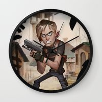 resident evil Wall Clocks featuring Resident Evil 4 by Max Grecke