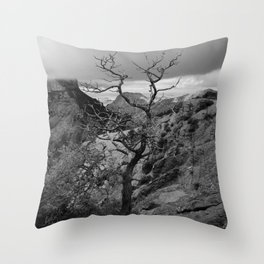 Withered Tree on top of Mountain Range, Big Bend - Landscape Photography Throw Pillow