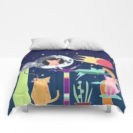 Alien Cat Tower Comforters