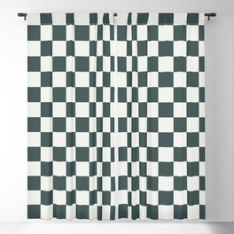 Green & Off White Checkerboard Pattern Inspired By Night Watch PPG1145-7 & Delicate White PPG1001-1 Blackout Curtain