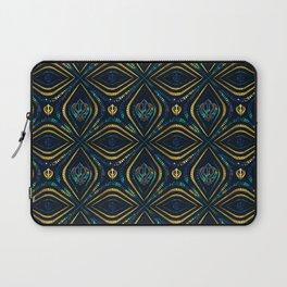 Khanda symbol pattern marble and gold Laptop Sleeve