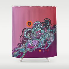 Detailed diagonal tangle, pink and purple Shower Curtain