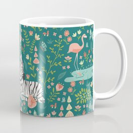 Wild Zebras in Green Garden Coffee Mug