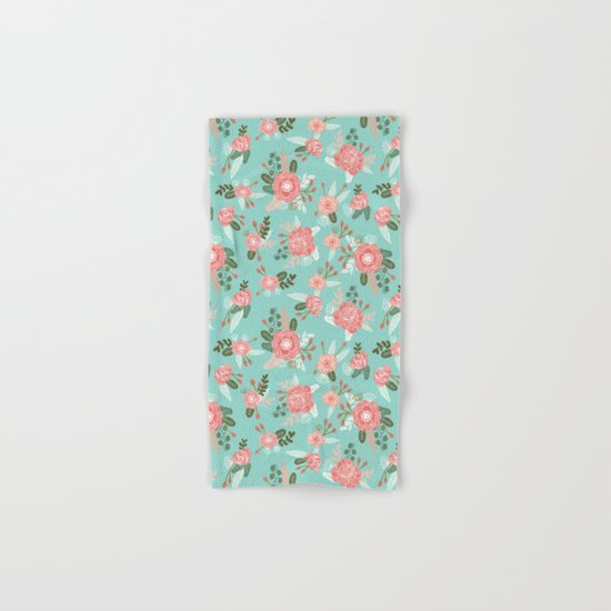 Flowers pastel mint painting watercolor abstract minimal gender neutral florals nursery baby kids Hand & Bath Towel