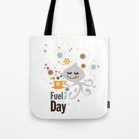 pocket fuel Tote Bags featuring Fuel of  the day by inkdesigner