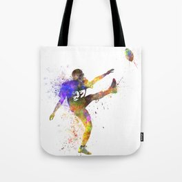 american football player man kicker kicking silhouette Tote Bag