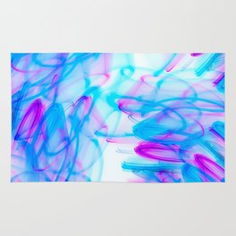 Abstract Art with Swirls Aqua and Magenta Rug