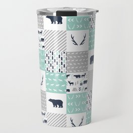 Camper antlers bears pattern minimal nursery basic navy mint white camping cabin chalet decor Travel Mug