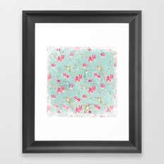 Vintage Watercolor hummingbird and Fuchsia Flowers on mint Background Framed Art Print