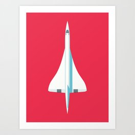 Concorde Supersonic Jet Airliner - Crimson Art Print