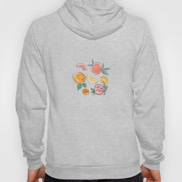 Citrus slices party in my garden_Pink & Teal Green watercolour & ink Hoody
