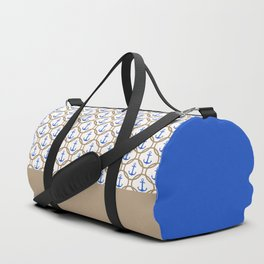 Seamless nautical pattern with blue anchors and rope on white background Duffle Bag