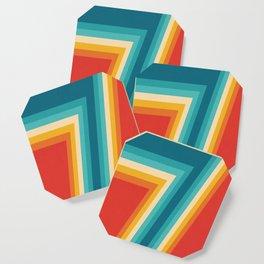 Colorful Retro Stripes  - 70s, 80s Abstract Design Coaster