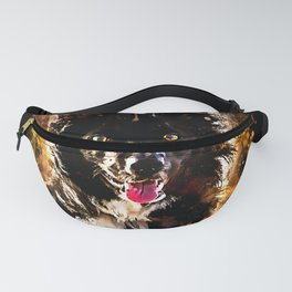 border collie dog lying down watercolor splatters Fanny Pack