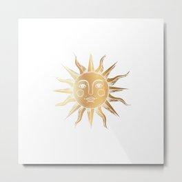 Golden Sun Face Metal Print