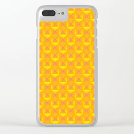 Tiled pattern of orange squares and striped yellow triangles. Volumetric geometry for the background Clear iPhone Case
