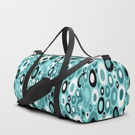 Turquoise Mid Century Geometric Ovals with Black and White Duffle Bag