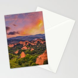 Las Medulas, ancient Roman mines in Leon, Spain at sunset. Stationery Cards