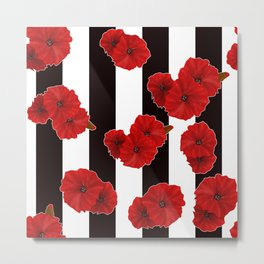 Red poppies on a black and white striped background. Metal Print