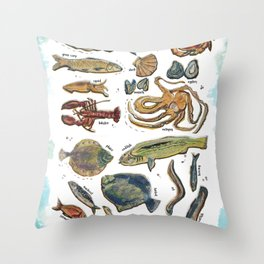 fishes and seafood Throw Pillow
