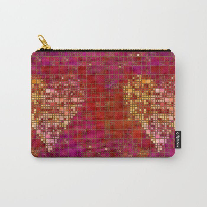 red Love heart tile illustration Carry-All Pouch