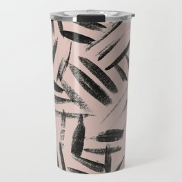 pale pink with black brushstrokes abstract art Travel Mug