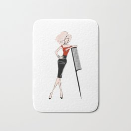 girl in red with hair brush Bath Mat