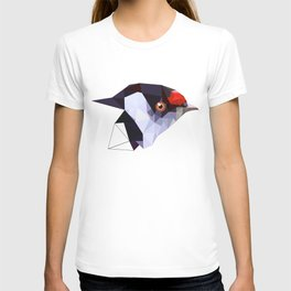 Geometric bird Tangarazinho Black Gray red T-shirt