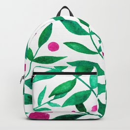 Watercolor berries and branches - pink and green Backpack