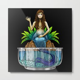 Mermaid Illustration Metal Print