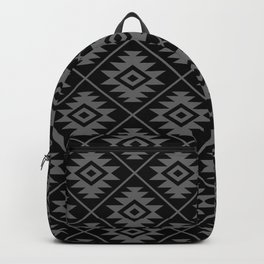 Aztec Symbol Pattern Gray on Black Backpack