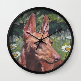 Cirneco dell'Etna dog portrait Beautiful Fine Art Dog Painting L.A.Shepard Wall Clock