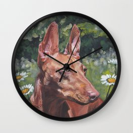 Cirneco dell'Etna dog portrait Beautiful Fine Art Dog Painting L.A.Shepard Wall Clock