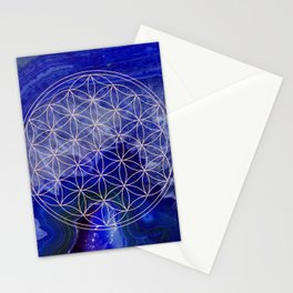 indigo agate with rose gold flower of life Stationery Cards