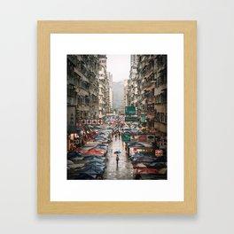 Walking in the rain Framed Art Print