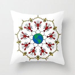 Crawfish Mandala Throw Pillow