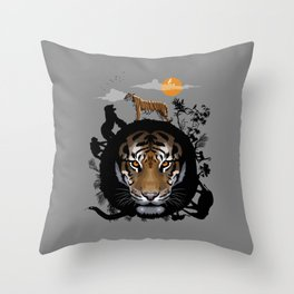 Circle jungle Tiger Throw Pillow
