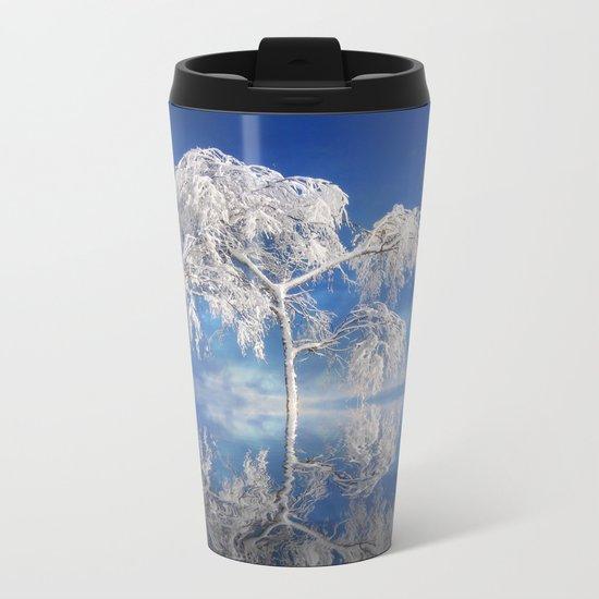 Snowy Winter Tree Metal Travel Mug